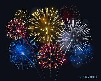 Ilustração brilhante de fogos de artifício