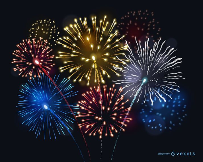Bright fireworks illustration