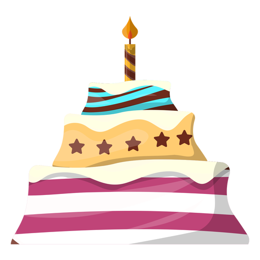 Birthday cake with candle illustration Transparent PNG