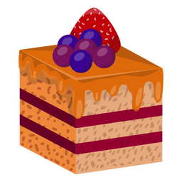 Cake slice with berries