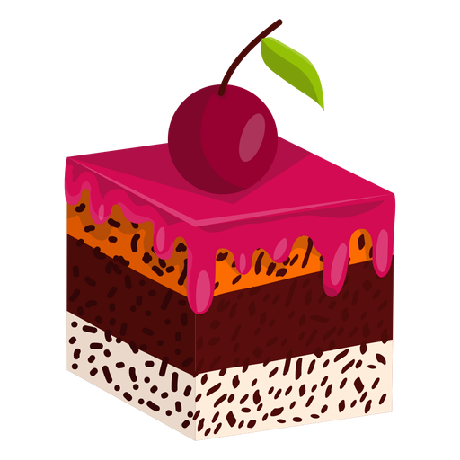Cake slice with cherry Transparent PNG