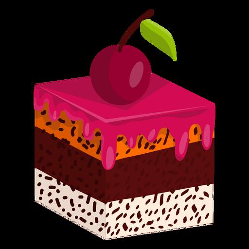 Rebanada de pastel con cereza Transparent PNG