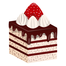 Cake slice with strawberry