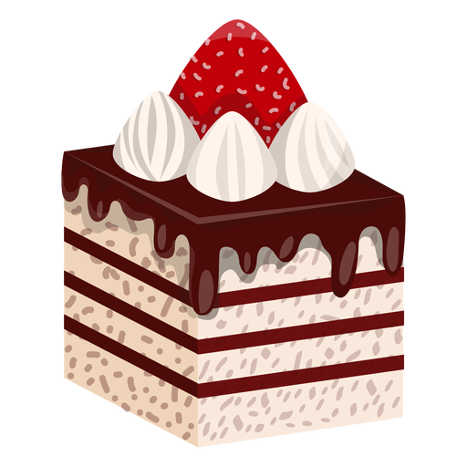 Cake slice with strawberry Transparent PNG