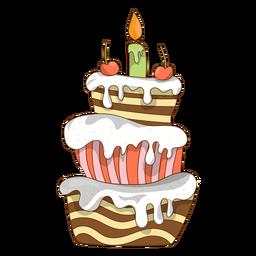 Desenhos animados de bolo de aniversário de cereja
