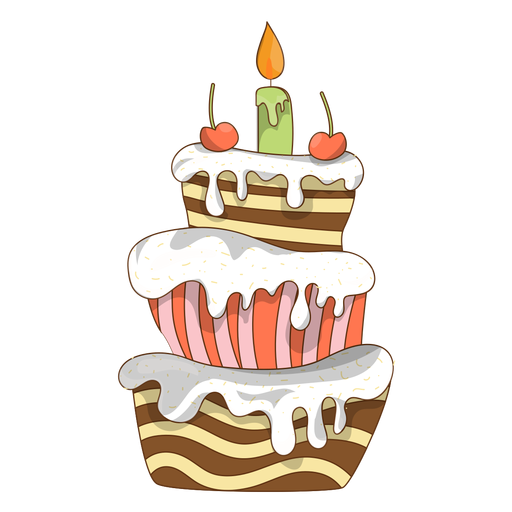 Cherry birthday cake cartoon Transparent PNG
