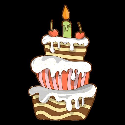 Dibujos animados de pastel de cumpleaños de cereza