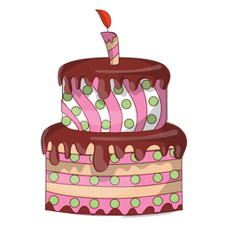 Dibujos animados de pastel de cumpleaños de chocolate