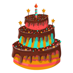 Chocolate birthday cake illustration