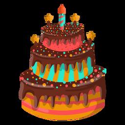 Ilustración de pastel de cumpleaños de chocolate