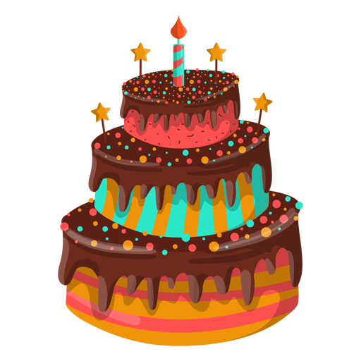 Chocolate birthday cake illustration Transparent PNG
