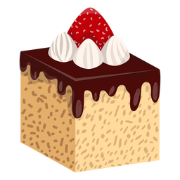 Chocolate cake slice with strawberry