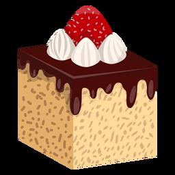 Rebanada de pastel de chocolate con fresa