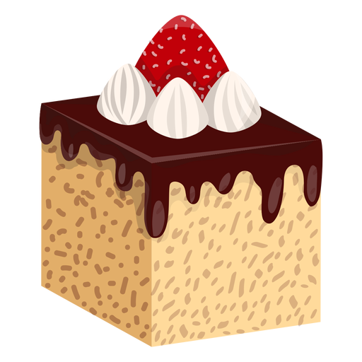 Chocolate cake slice with strawberry Transparent PNG