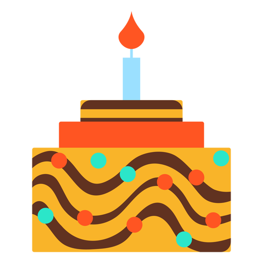Flat Birthday Cake Graphic