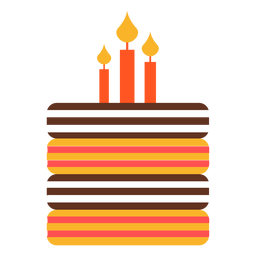 Flat birthday cake illustration