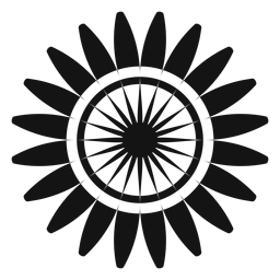 Flat grey sunflower head graphic