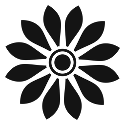 Flat grey sunflower head icon