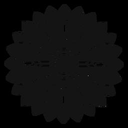 Ilustração de cabeça de girassol cinza plana