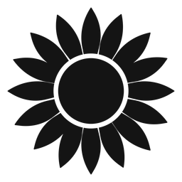 Flat grey sunflower head logo
