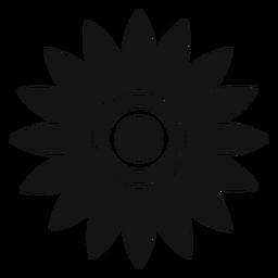 Vetor de cabeça de girassol cinza plano