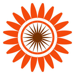Flat isolated sunflower head clipart