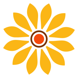 Flat isolated sunflower head graphic