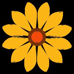 Gráfico de cabeza de girasol aislado plano