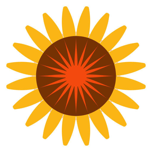 Flat isolated sunflower head icon Transparent PNG