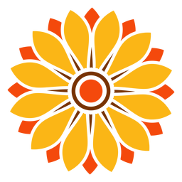 Flat isolated sunflower head illustration