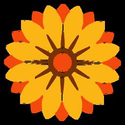 Ilustración de cabeza de girasol aislado plano