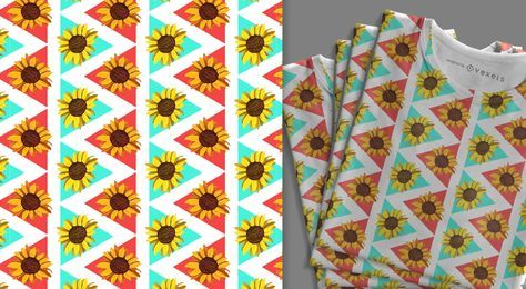 Colorful sunflower pattern design