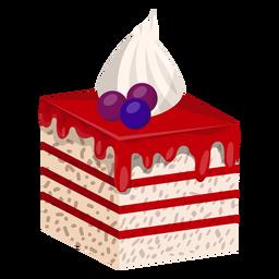 Fatia de bolo de frutas florestais