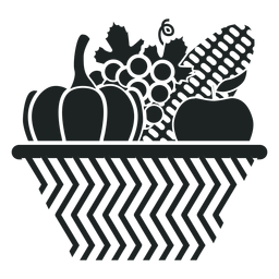 Kwanzaa harvest basket grey icon
