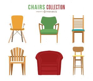 Conjunto de ilustrações de cadeira e sofá