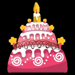 Ilustração do bolo de aniversário rosa