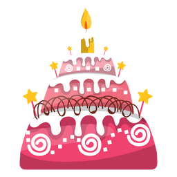 Pink birthday cake illustration
