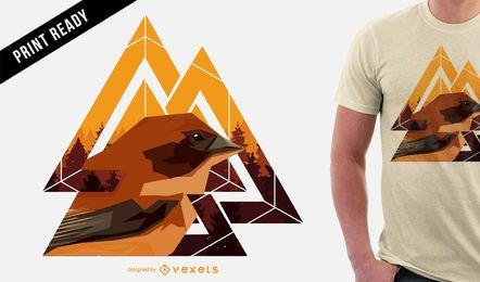 Diseño geométrico de la camiseta del pájaro