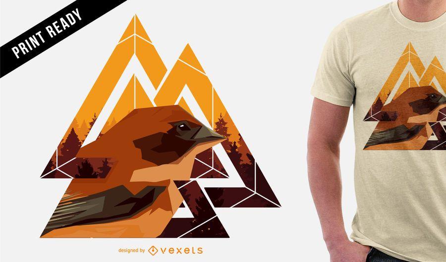 Projeto geométrico do t-shirt do pássaro