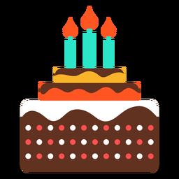 Tres velas icono de pastel de cumpleaños