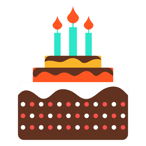 Three Candles Birthday Cake Icon