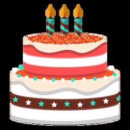 Ilustración de pastel de cumpleaños tres velas
