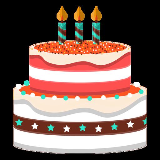 Three candles birthday cake illustration Transparent PNG
