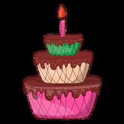 Three floors birthday cake cartoon