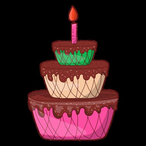 Dibujos Animados De Pastel De Cumpleaños De Tres Pisos Descargar