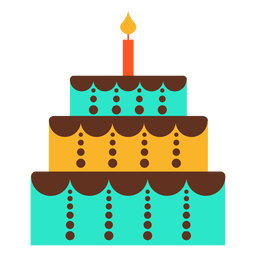Three floors birthday cake icon