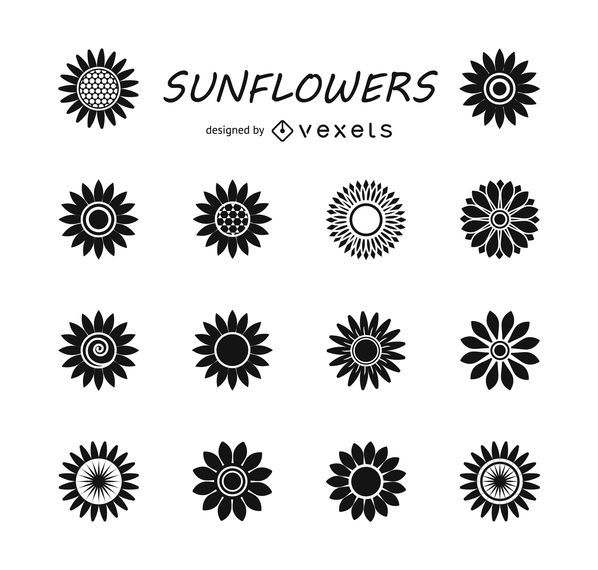 Set of sunflower silhouettes