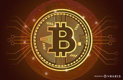 Goldener Bitcoin-Illustrationskopf
