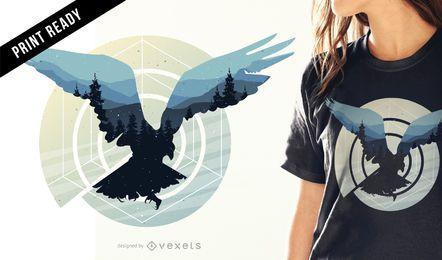Diseño de camiseta de pájaro abstracto.