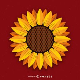 Isolated sunflower illustration